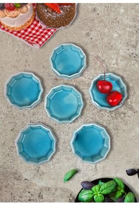 Keramika 6 Parça 8 Cm Mini Çark Mavi Cam Göbeği