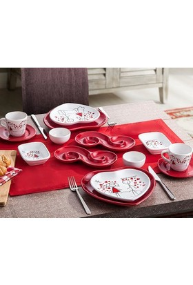 Keramika 2 Kişilik 14 Parça Hepsi Burada Aşk Kahvaltı Seti
