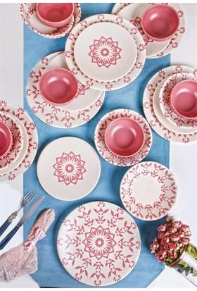 Keramika 6 Kişilik 24 Parça İknat Pembe Yemek Takımı