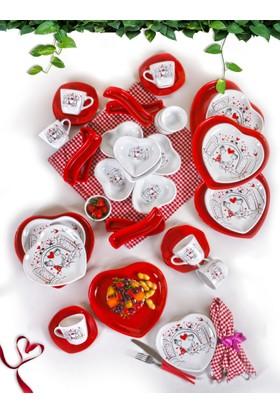 Keramika 42 Parça 6 Kişilik Keyfi Aşk Kahvaltı Takımı