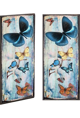 Ahşap Çerçeveli Kelebekler Ahşap Tablo 30x60
