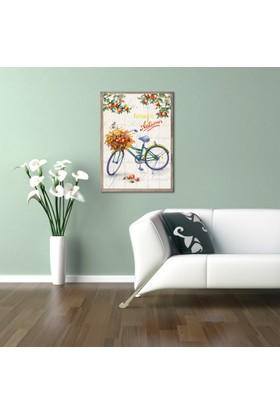 Ahşap Çerçeveli Bisiklet Ahşap Tablo 50x70