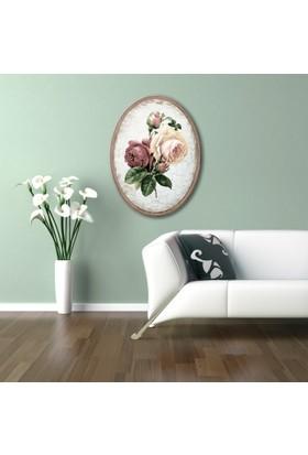 Ahşap Çerçeveli Oval Güller Canvas Tablo 25X30
