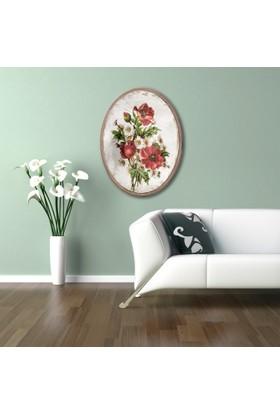 Ahşap Çerçeveli Oval Kır Çiçekleri Canvas Tablo 25X30