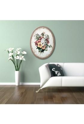 Ahşap Çerçeveli Oval Kır Çiçekleri-2 Canvas Tablo 25X30