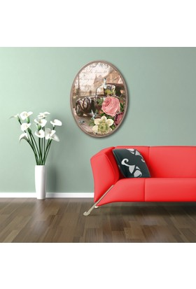 Ahşap Çerçeveli Oval Klasik Araç Canvas Tablo 25X30