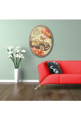 Ahşap Çerçeveli Oval Klasik Araç ve kelebek Canvas Tablo 25X30
