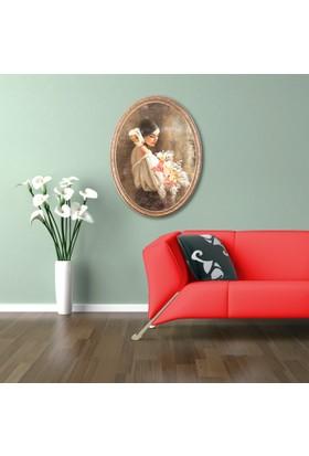 Yaldızlı Ahşap Çerçeveli Oval Karmen-4 Canvas Tablo 25X30