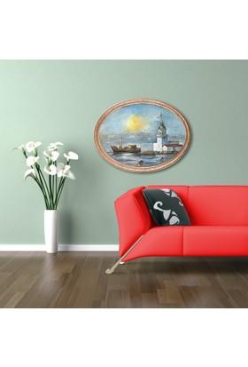 Yaldızlı Ahşap Çerçeveli Oval Kız Kulesi Canvas Tablo 25X30