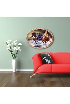 Yaldızlı Ahşap Çerçeveli Oval Atlar-2 Kanvas Tablo 25X30
