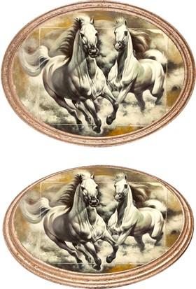 Yaldızlı Ahşap Çerçeveli Oval Atlar-3 Kanvas Tablo 25X30