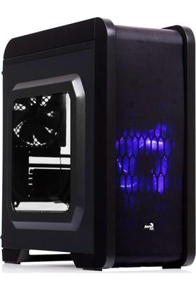 Aerocool QS240 500W 80+ Bronze USB 3.0 Mavi Ledli Siyah Micro-ATX Kasa (AE-QS240-580)