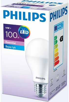 Philips Essential Led Ampul 14-100W Beyaz Renk E27