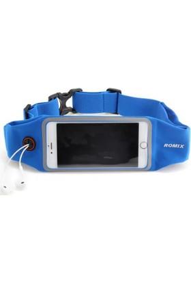 Romix Dokunmatik Ekran Bel Çantası Kayış 4.7 İnç- Mavi