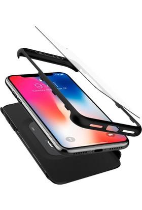 Spigen Apple iPhone X Kılıf Signature Thin Fit 360 Koruma Black (2x Cam Ekran Koruyucu) - 057CS22177