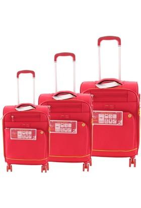 Verage Gm16056W Kumaş Valiz Seti Kırmızı