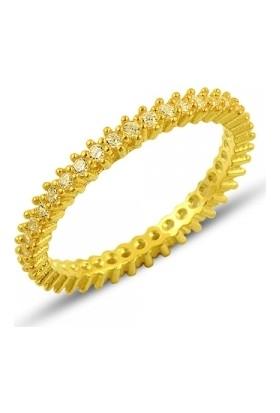 Tevuli 925 Ayar Gümüş Bayan Altın Kaplama Tek Sıra Zirkon Taşlı Tamtur Yüzük R81804