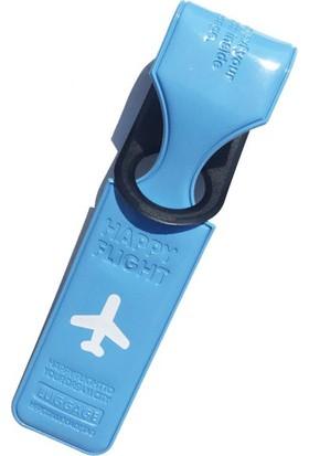 Solaress M-Square Enamel Deri Premium Valiz Etiketi Bavul İsimlik Mavi