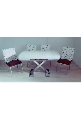 Masa Sandalye Takımı Vavien X Masa Takım Kahve Çiçek