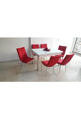 Kutuphome Masa Sandalye Takımı Palermo Kırmızı