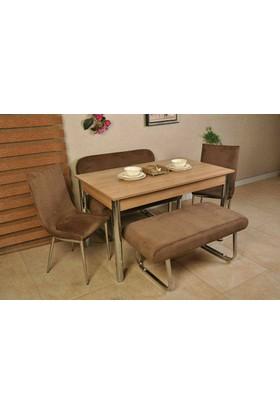 Bank Takım Kutuphome Masa Sandalye Takımı Kahve