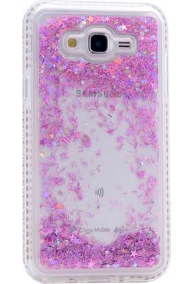 Happyshop Samsung Galaxy j2 Prime Kılıf Taşlı Simli Sıvılı Silikon+Cam Ekran Koruyucu