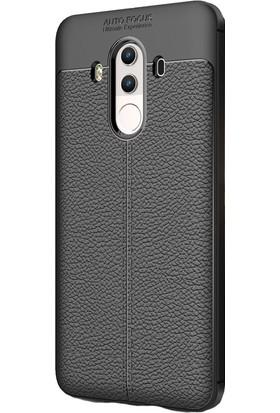 happyshop Huawei Mate 10 Pro Kılıf Deri Görünümlü Lux Niss Silikon+Cam Ekran Koruyucu