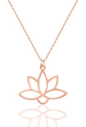 Azuris 925 Ayar Gümüş Lotus Çiçeği Kolye Rchalk1381