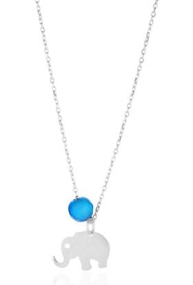 Azuris 925 Ayar Gümüş Mavi Akik Taşlı Fil Kolye Rchalk1016