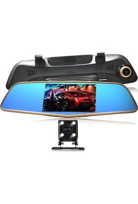 Allwinner 5 inç LCD Ekran Allwinner AW51HD Çift Yön Dikiz Ayna Geri Vites Türkçe Menü 12 MP Full HD 1080P 170/140 Derece Geniş Açı Lens Gece Görüşlü DVR Gold Metal Kasa Araç İçi Kamera
