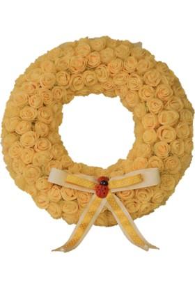R'Store Sarı Yapay Güllü Kapı Süsü Çapı: 30 cm