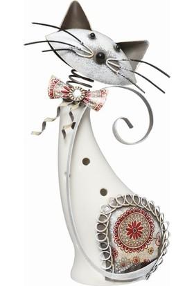 Esmer Metal Beyaz Kedi - Ayakta 2
