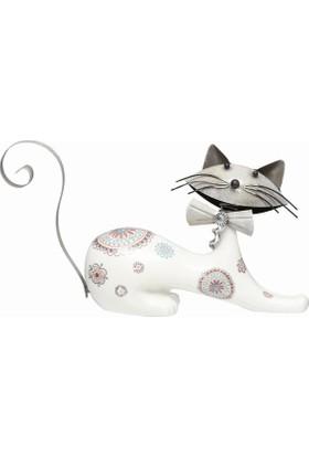 Esmer Metal Beyaz Kedi - Uzanmış