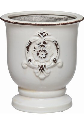 Esmer Beyaz Eskitme Seramik Vazo Büyük