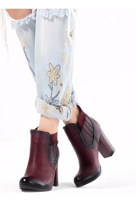 Erbilden Yel Bordo Cilt Lastikli Topuklu Bayan Bot