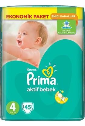 Prima Bebek Bezi Aktif Bebek 4 Beden Ekonomik Paket 45'Li