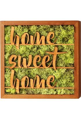 Terra Home Sweet Home El Yazısı 30x30cm Yosun Tablo