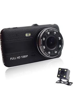 Solaner Sl115 Fullhd 1080P Çift Kamera Araç İçi Güvenlik Kamerası