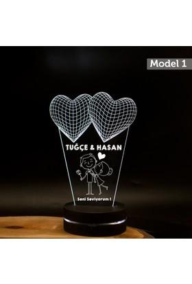 7/24 Hediye Sevgiliye Hediye 3D Led Lamba Gece Lambası