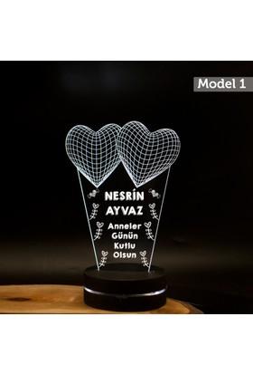 7/24 Hediye Anneye Hediye 3 Kalpli 3D Led Lamba Gece Lambası