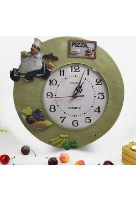 Pastacı Model Polyester Şık Mutfak Duvar Saati