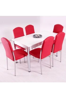 Evform Platin 6 Sandalyeli Mutfak Masası Takımı Masa Sandalye Seti Yemek Masasi