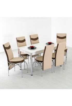 Evform Roma 6 Sandalyeli Mutfak Masası Takımı Masa Sandalye Yemek Seti