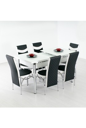 Evform Roma 6 Sandalyeli Açılır Masa Mutfak Masası Takımı Masa Sandalye Seti