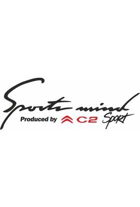 Otografik - Citroen C2 Sports Mind Oto Sticker 30 cm x 11 cm Siyah