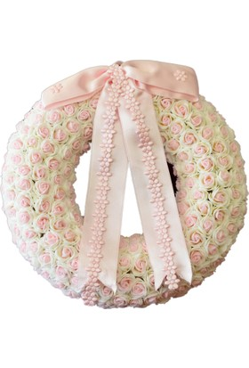 R'Store Pembe Beyaz Gül Yapay Çiçekli Kapı Süsü Çapı: 30 cm
