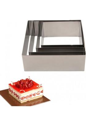 Narkalıp Kare Çember Kek Pasta Kalıbı 4'Lü Set 10Cm