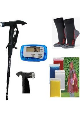 Watton Yürüyüş Batonu + Adımsayar + Trekking Çorap + Kullan At Yağmurluk Set