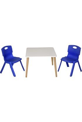 LilaBaby Çocuk Oyun Resim Masası 2 Sandalye 1 Masa ( Mavi )