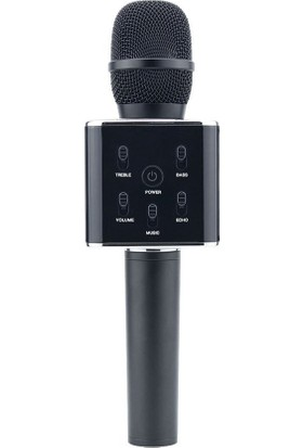 Playaks Karaoke Mikrofon Bluetooth, Speaker Karaoke Mikrofon Q7 Smule Sing Entegre Çalışır Siyah
